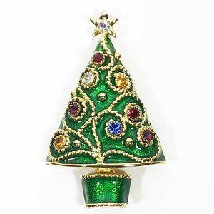 Vintage Gorham Enamel Christmas Tree Pin Brooch